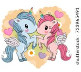 two cute unicorns on a hearts... | Shutterstock .eps vector #723965491