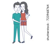 young couple standing avatars | Shutterstock .eps vector #723968764