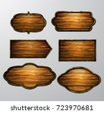 wooden signs  vector icon set | Shutterstock .eps vector #723970681