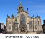 The Gothic Facade Of St. Giles...
