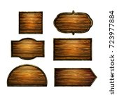 wooden signs  vector icon set | Shutterstock .eps vector #723977884