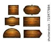 wooden signs  vector icon set | Shutterstock .eps vector #723977884