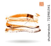 orange brush stroke and texture.... | Shutterstock .eps vector #723981541