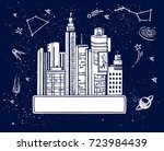 banner futuristic city and... | Shutterstock .eps vector #723984439