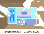 video design hands collect... | Shutterstock .eps vector #723985621