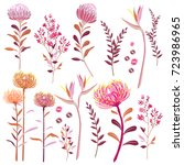 set of hand drawn floral... | Shutterstock .eps vector #723986965