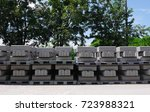 stacks of precast concrete in a ... | Shutterstock . vector #723988321
