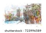 watercolor sketch of big ben... | Shutterstock .eps vector #723996589