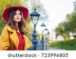 young beautiful women in a... | Shutterstock . vector #723996805