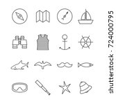 set icons outline nautical of... | Shutterstock . vector #724000795