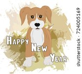 new year's card with puppy