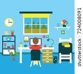 teenager room interior vector... | Shutterstock .eps vector #724008091