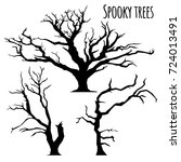 collection of spooky trees... | Shutterstock .eps vector #724013491