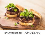 hamburger with cheese  grilled... | Shutterstock . vector #724013797