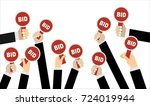 hands holding auction paddle.... | Shutterstock .eps vector #724019944