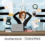 stress at work concept flat... | Shutterstock .eps vector #724019965