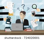 business man surrounded by... | Shutterstock .eps vector #724020001