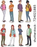 group of cartoon young people.... | Shutterstock .eps vector #724021885