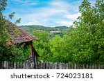 the rural house in the village... | Shutterstock . vector #724023181