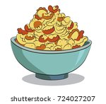 cornflakes breakfast cartoon... | Shutterstock .eps vector #724027207
