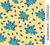 blue flowers on a light yellow... | Shutterstock . vector #724032121