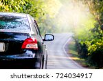 black car on beautiful way with ... | Shutterstock . vector #724034917