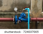 water shutoff valve with water... | Shutterstock . vector #724037005