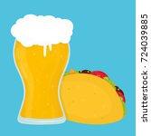 beer and taco. vector flat... | Shutterstock .eps vector #724039885