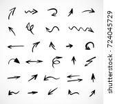 hand drawn arrows  vector set | Shutterstock .eps vector #724045729