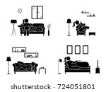 stick figure resting at home... | Shutterstock .eps vector #724051801