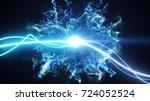 two blue light streak breaks... | Shutterstock . vector #724052524
