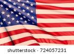 american usa 3d flag. raster... | Shutterstock . vector #724057231