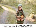 children walking in the forest... | Shutterstock . vector #724063711
