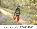 children walking in the forest... | Shutterstock . vector #724063945