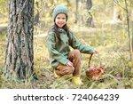 children walking in the forest... | Shutterstock . vector #724064239