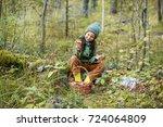 children walking in the forest... | Shutterstock . vector #724064809