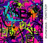 abstract seamless graffiti... | Shutterstock .eps vector #724071529
