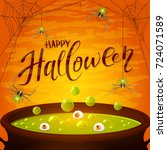 lettering happy halloween with... | Shutterstock .eps vector #724071589