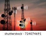 silhouette phone antenna...   Shutterstock . vector #724074691