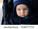 baby girl close up in a hat a... | Shutterstock . vector #724077715