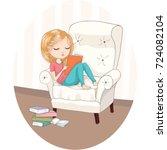 cute girl vector design....   Shutterstock .eps vector #724082104