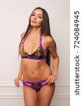 beautiful woman in sequins...   Shutterstock . vector #724084945