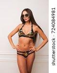 beautiful woman in sequins...   Shutterstock . vector #724084981