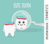 cute tooth mascot  | Shutterstock .eps vector #724087171