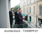 smiling men in pink bow ties... | Shutterstock . vector #724089919