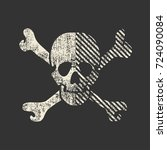 white skull with dirty shapes... | Shutterstock .eps vector #724090084