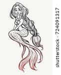 hand drawn beautiful magic... | Shutterstock .eps vector #724091317