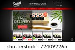 sushi website template. website ... | Shutterstock .eps vector #724092265