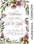 invitation card. watercolor... | Shutterstock . vector #724094299