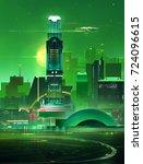 sketch fantastic city skyline.... | Shutterstock . vector #724096615